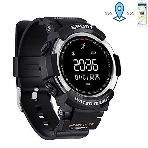 EGOFEI Herren Sport Smartwatch - IP68 wasserdichte GPS Fitness Tracker Outdoor Sportuhr zum Laufen, Radfahren oder Schwimmen,silverblack