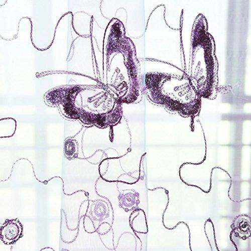 LCLrute Vorhang 200cm x 100cm Schmetterling Vorhang Tüll Fenster Behandlung Voile Drape Valance 1 Panel Fabric (Lila) (Fabric Panel Moda)