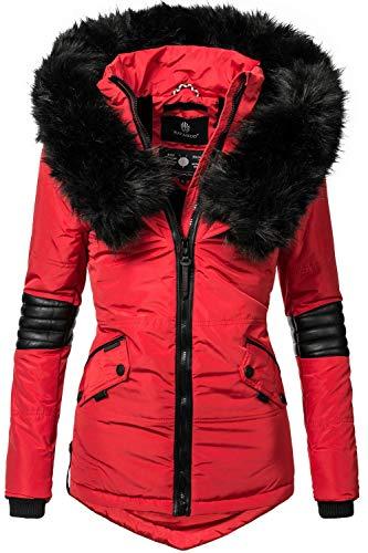 Navahoo Nirvana Veste d'hiver pour Dame avec Une Capuche en Fausse Fourrure Noire Rouge S
