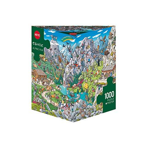Heye- Puzzle Alpine Fun Tanck Confezione Triangolare, 1000 Pezzi, 50 x 70...