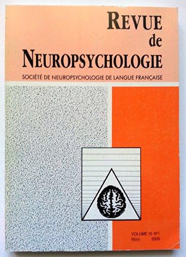 Revue de Neuropsychologie - Volume 10 - numéro 4 - décembre 2000