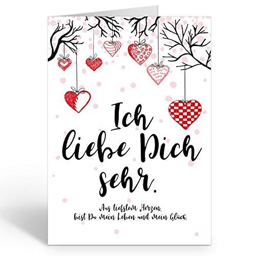 Große XXL Karte mit Umschlag (A4) /Motiv Ich liebe Dich sehr, hängende Herzen/Edle Design Klappkarte/Hochzeit/Liebe/Hochzeitstag/Valentinstag/Heiratsantrag/Edle Maxi-Karte