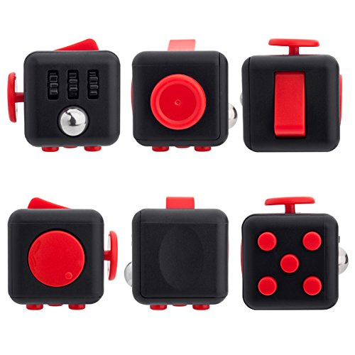 Fidget Cube Toy Anxiety Attention Stress Relief Stocking stuffer Relieves Stress for Children and Adults Christmas Gift Black (Red)