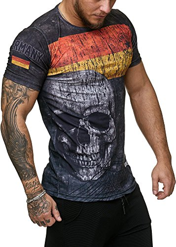Deutschland T-Shirt Herren Schwarz Skull Adler Germany Men Slim Fit Skull World Cup 2018 Männer Shirt Ländershirt (XL)