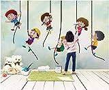 HONGYUANZHANG Bambini Carini E Vivaci Carta Da Parati Artistica Del Fondo Di Paesaggio Della Tv Di Carta Da Parati Della Foto 3D,24Inch (H) X 32Inch (W)