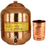 Taluka Handmade Healthy Pure Copper Matka Water Pot Pitcher Pot Water Tank Capacity :- 6000 ML With 1 Copper Glass 300 ML For Water Drinking And Storing Purposes Healthy Habits Ayurvedic Benefits Weight :- 1350 Grams
