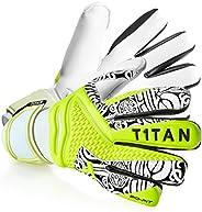 T1TAN Torwarthandschuhe für Erwachsene, Fußballhandschuhe Herren Innennaht und 4mm Profi Grip - Diverse Größe