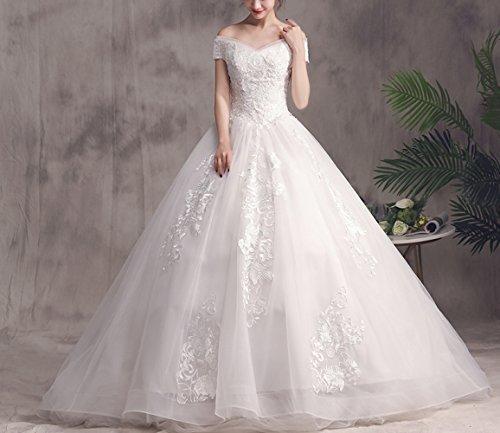 MoMo Meili Wort Schulter Brautkleid 2018 koreanische Braut verheiratet Schwangere Frauen große Größe war dünn Lange Tailed Qi Prinzessin,Weiß,L (Brautkleid Koreanisch)