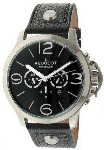 Peugeot MK912SBK - Orologio da polso da uomo, cinturino in pelle colore nero