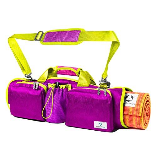 Yogatasche »Perdita« / Sling Yogabag für extra große Yogamatten / Pilatesmatten bis 100 cm Breite / zwei Fächer für Wertsachen & eine Getränkehalterung / in vielen trendingen Sommerfarben (lila)