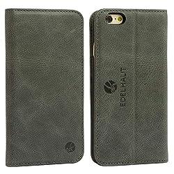 EDELHAUT Ledertasche für iPhone 6S und iPhone 6 mit unsichtbarem Magnetverschluss in grau - Tasche Echt-Leder