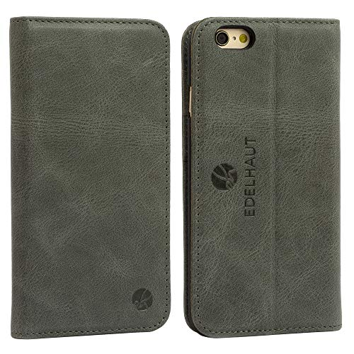 EDELHAUT Ledertasche für iPhone 6S und iPhone 6 mit unsichtbarem Magnetverschluss in grau - Tasche Echt-Leder - Iphone Fall Flip-telefon