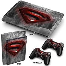 "PS3 Super Slim Playstation Pegatinas de PVC para la Consola + 2 Controladores Decal Protector Arte ''Red Superman"""