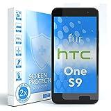 EAZY CASE 2X Panzerglas Bildschirmschutz 9H Härte für HTC One S9, nur 0,3 mm dick I Schutzglas aus gehärteter 2,5D Panzerglasfolie, Bildschirmschutzglas, Transparent/Kristallklar