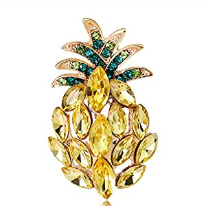 Youkara Ananas-Brosche mit Diamanten, für Damen, Mädchen, Teenager, Schmuck für Abschlussball, Preppy