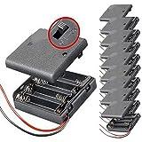 erenLine® Batteriehalter, Akkuhalter für 4X Mignon AA; geschlossenes Gehäuse mit EIN/Aus-Schalter; mit Anschlusskabel; [Batteriefach, Akkufach] (10 Stück)