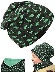 HECKBO® Cappello, Beanie per Bambini + Girocollo | Ideale in Primavera, Estate, Autunno | Berretto con Stampa