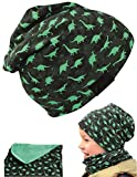 HECKBO® Cappello, Beanie per Bambini + Girocollo | Ideale in Primavera, Estate, Autunno | Berretto con Stampa Dinosauri, Reversibile | 2 - 7 anni | 95% Cotone | Morbido e pratico tessuto elasticizzato