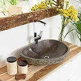 wohnfreuden Naturstein - Waschbecken Aufsatzwaschbecken aus Stein 60 cm mit gerader Rückwand für Ihr Badezimmer