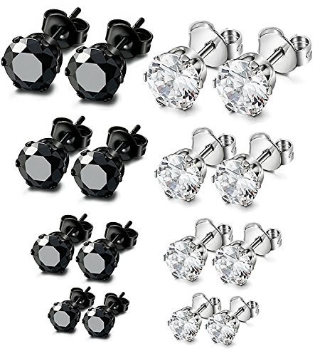 Sailimue 8 Pairs Stainless Steel Stud Earrings for Men Women CZ Earrings Set,3mm-10mm