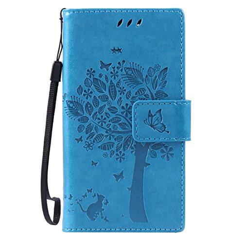 Chreey Coque Sony Xperia Z3 Compact / Z3 mini (4.6 pouces) ,PU Cuir Portefeuille Etui Housse Case Cover ,carte de crédit Fentes pour ,idéal pour protéger votre téléphone ,(arbre - chat)