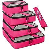 Set di 4 elementi di borsad'immagazzinamento di viaggiare, cubi di imballaggio per i bagagli, incluso il sacco della biancheria rose nailon immagine
