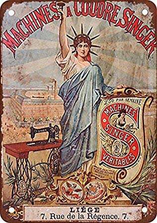 KellyPlaques Blechschild, Motiv: französischer Sänger Nähmaschinen, Vintage-Look, Reproduktion, 30,5 x 40,6 cm