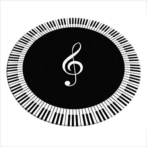 Rug Round Teppich im Wohnzimmer Schlafzimmer für Nacht Couchtisch Stuhl Bereich Teppich Matte Black and White Piano Keys Pattern ( Size : Diameter 80cm )
