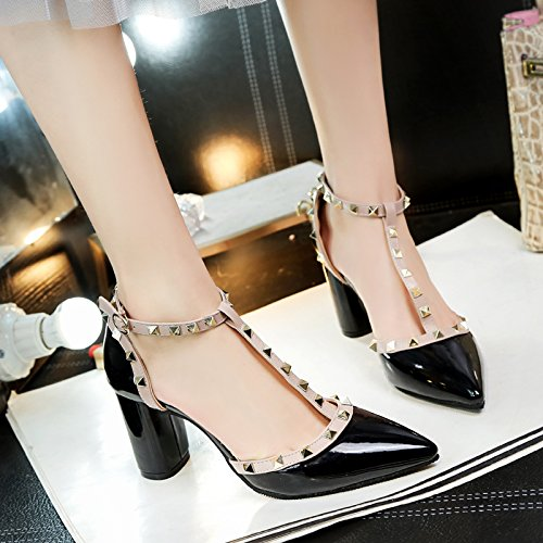 Lgk & FA dété Sandales pour femme Sandales femme à bout pointu talons talons rivets Boucles Cuir Chaussures Femme talons hauts 7.5cm 37 black 88