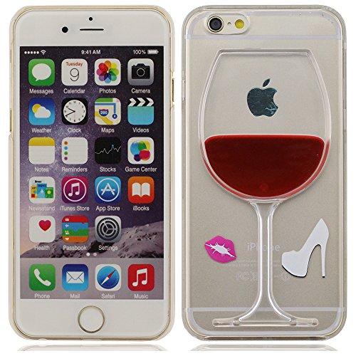 iPhone 5 Coque, iPhone 5 case,Cas de l'iPhone 5S, l'iPhone 5 Cover Case 5G Chaussures et Lèvres 3D Cup Liquide État Rouge vin clair, un design unique à talons hauts [Anti-rayures] Transparent Hard Cov rouge