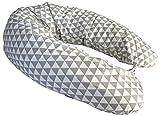 RAWSTYLE XXL Bezug für Stillkissen **26 MOTIVE** (Dreiecke Grau/Weiß) Baby Lagerunskissen Stillkissen Lang Seitenschläferkissen 170 cm