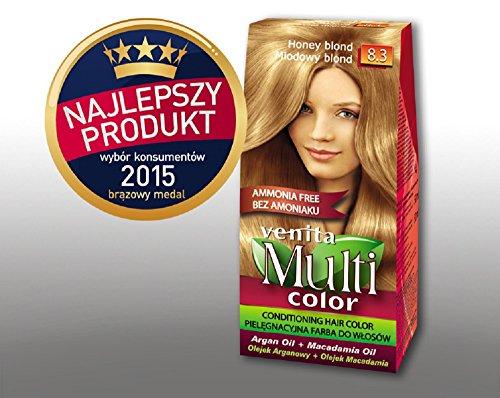 Venita Multi Color Soins Couleur des cheveux avec de l'huile d'argan et de macadamia Blond Miel (Honey Blonde) N ° 8.3