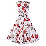 Moligh doll Europa und die Vereinigten Staaten aermelloses gedrucktes Kleid Hepburn Retro grosser Schwingrock Korall & rot M