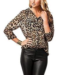 Las Mujeres Blusa De Leopardo Impreso T - Shirt Tops Botón Slim Office Blusas