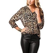 Naliha Las Mujeres Blusa De Leopardo Impreso T - Shirt Tops Botón Slim  Office Blusas b99d019999e