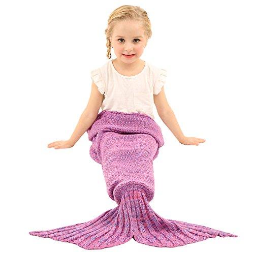 Preisvergleich Produktbild Arshiner Meerjungfrau Baby Mädchen Kinder Kostüm Wassernixe Rock Wolldecke Märchen Bekleidung Warme Kolter Sofa Bett Schlafsäcke Schwanz Pink S