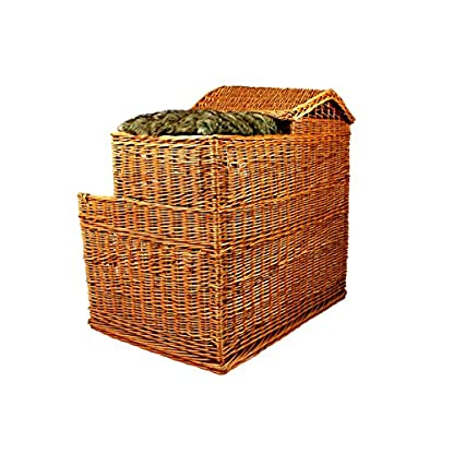 Michur Uncle Tom's Hut beige wicker house cave bed for dogs cats incl. Pillows 7