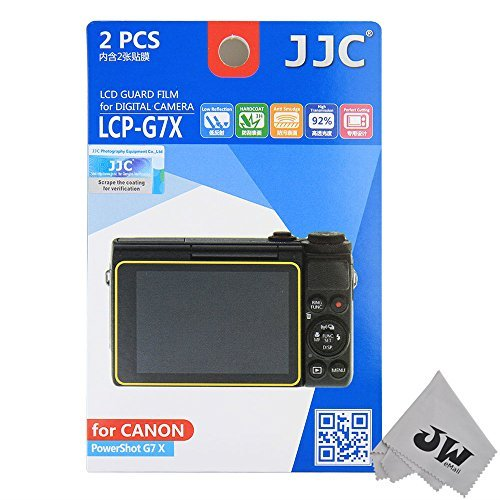 JW LCP-G7X 2 Kits Guard Film Digital Camera LCD Display Screen Protector Cover For Canon PowerShot G7X Camera + JW emall Micro Fiber Cleaning Cloth
