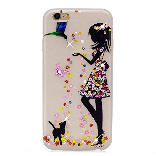 Custodia iPhone 6 Plus - Cover iPhone 6S Plus - ISAKEN Fashion Agganciabile Luminosa Custodia con LED Lampeggiante PU Pelle Portafoglio Tinta Unita Cover Caso per Apple iPhone 6 Plus(5.5), Luxury Pro ragazza gatto
