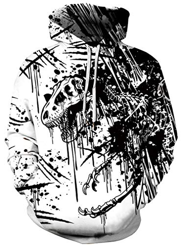 Ocean Plus Herren Kapuzenpullover Lebensecht 3D Grafik Hoodie mit Kängurutasche Pullover mit Kapuze Sweat Hood (XXL/3XL (Brustumfang: 126-146CM), Dinosaurier Skelett) (Skelett Pullover Für Jungen)