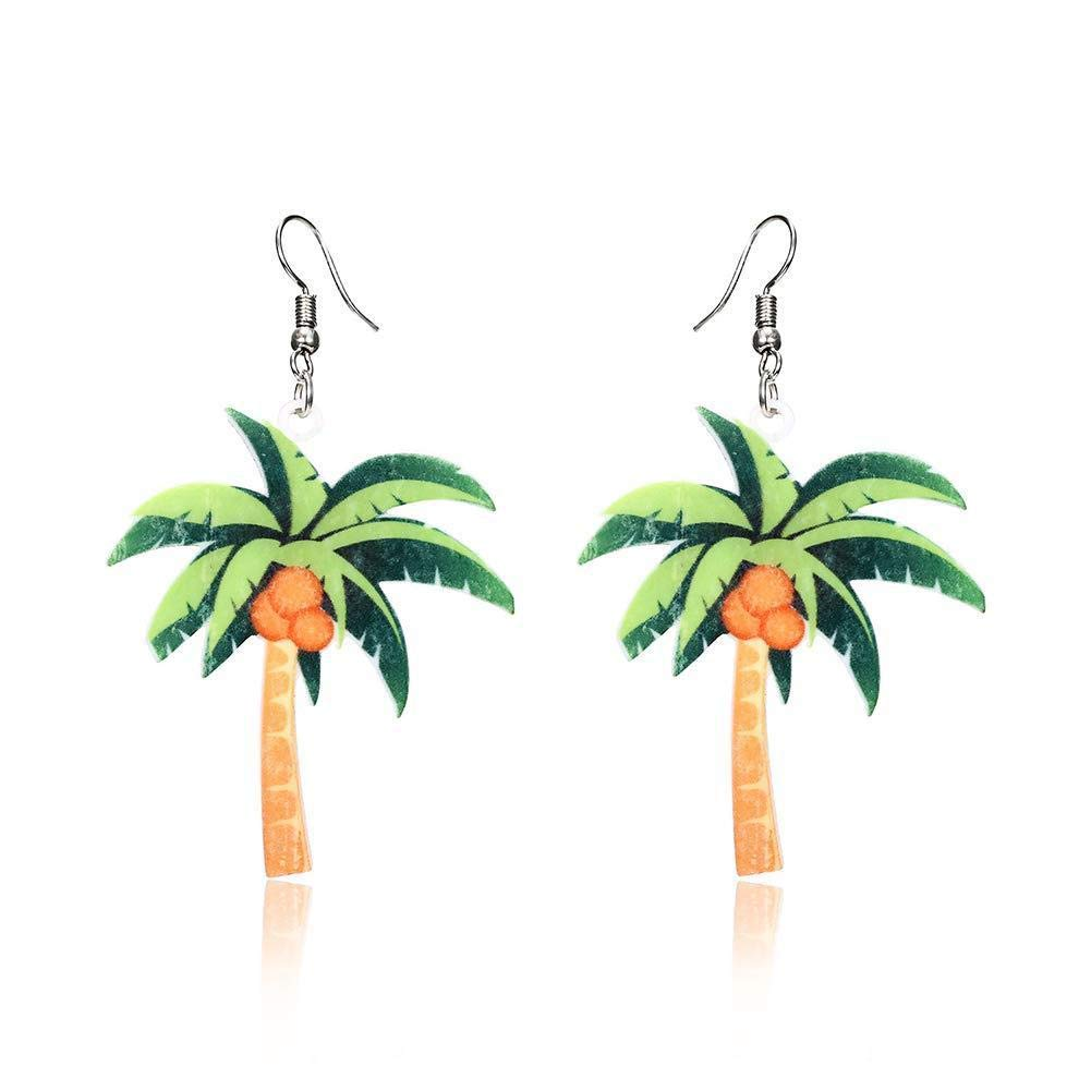 Hoveey Summer Earring Coconut Tree Pendant Earrings Women Girl Jewelry Gift for Christmas Thanksgiving Birthday(Green)