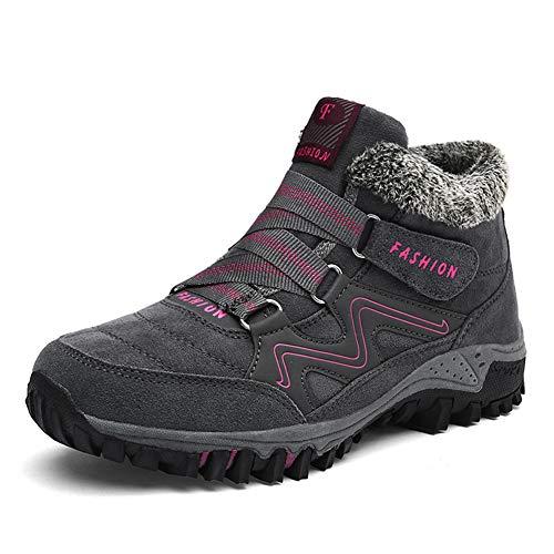 Scarpe Trekking Uomo Donna Stivali Invernali da Neve Pelliccia Stivaletti Sportive All'Aperto Escursionismo Sneakers Nero Grigio Viola 35-46 WGY37