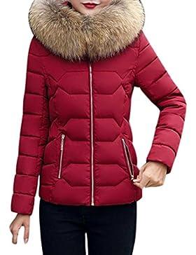 Odejoy Giacca Corta Con Cappuccio Donna Trend Di Moda Autunno E Inverno  Caldo Giubbotto Grande Giù ea59567b55f