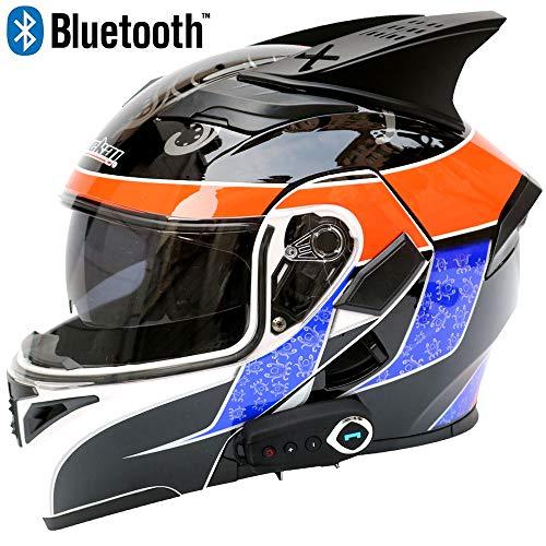 JohnnyLuLu Modularer Bluetooth-Smart-Motorradhelm mit Doppelvisier, Anti-Fog- und D.O.T-Funktion Integriertes Headset Klappschutzhelme,D,L -