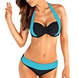 KUDICO Damen Badeanzug Zweiteiler Gepolsterte Badebekleidung Lace Up Solide Backless Halter Bikini Set(Hellblau, Medium)