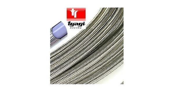 Tyagi Racing 6mm Stainless Steel Braided Fuel Hose Line Length 250mm