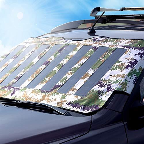 GSZTECH 53W Solar Auto Sonnenschatz Ladegerät Sonnenstrahl Panel Wärmeisolierun mit 18V DC Triple 5V USB Falten Panel Outdoor für Laptop, 12V Autobatterie, Tablet, iPad, Mobiltelefon, RV, Camping Rv-batterie-kabel