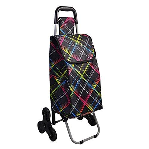 Einkaufstrolleys Leichtes faltbares Treppensteigen Einkaufswagen Reisewagen 6 Verschleißfestes, stummes, zusammenklappbares Push, Pull Carts Oxford Cloth Bag Cart Tragbare Tragekapazität Gewicht: 2.2k