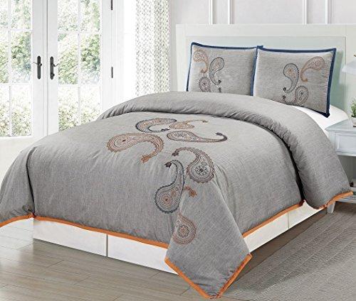 Chezmoi Collection Naomi 3-teilig Paisley Floral Stickerei Muster Bettbezug Set (König) -