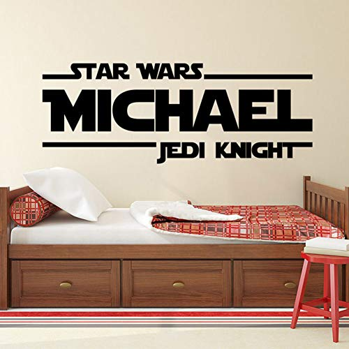 selbstklebend Personalisierte Name Star Wars Jedi Ritter Aufkleber Zitat Vinyl Wandaufkleber Benutzerdefinierte Name Decor Teens Jungen Room Deco Kunst Herren Geschenk 57 * 21 cm